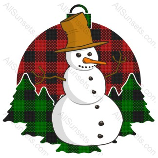 Snowman Christmas Tree Plaid Pattern Ornament