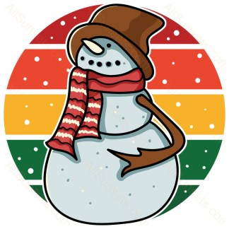 Snowman Retro Christmas Circle Sunset