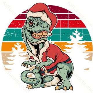 T-Rex Dinosaur Santa Suit Christmas Retro Sunset