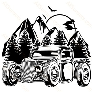 Vintage Pickup Forest Mountains Vector