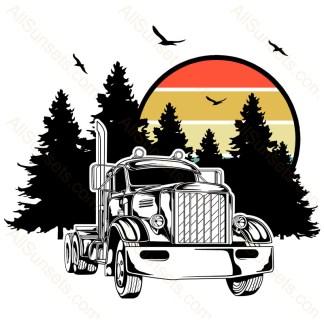 Vintage Semi Truck Forest Retro Sunset