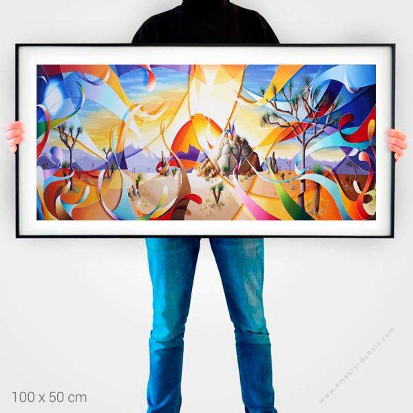 Désert et soleil - affiche d'art peinture contemporaine