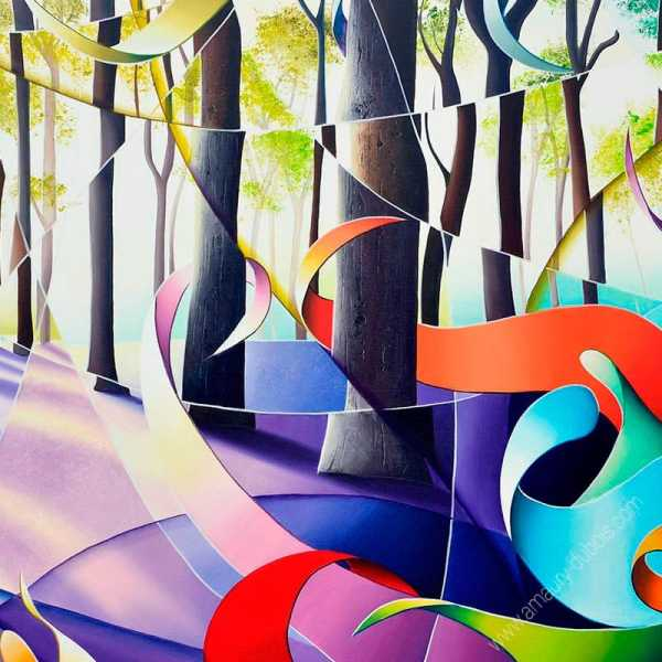 Reproduction peinture multicolore de forêt