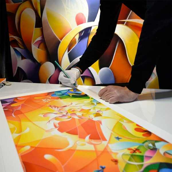 Tableau multicolore panoramique, Reproduction peinture contemporaine