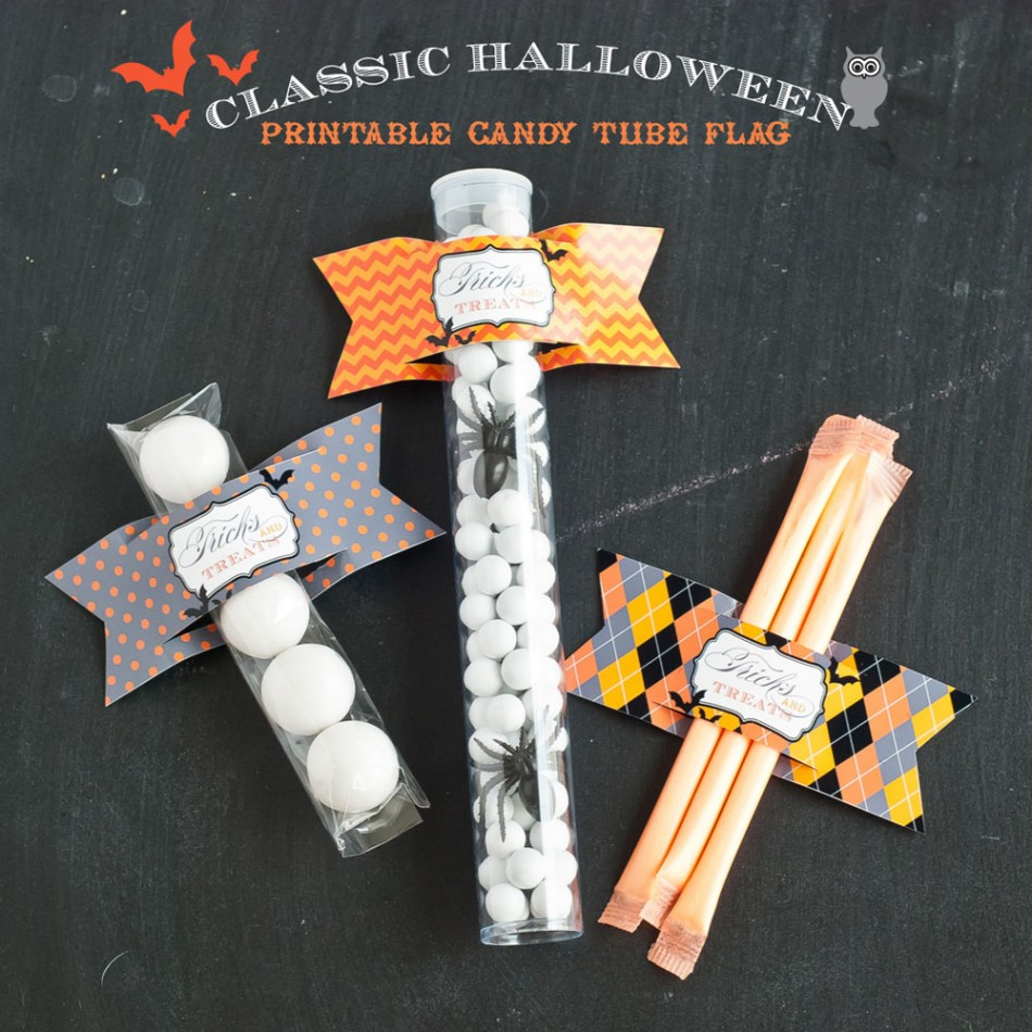 Classic Halloween Design Kit Printable Candy Flag Label