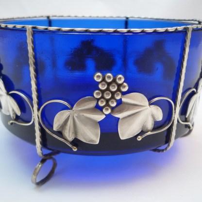 Schale Kobaltglas mit Silbermontur