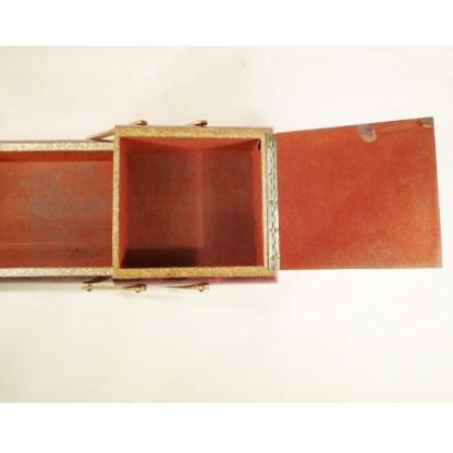 Näh-/Aufbewahrungskästchen in roter Lackierung, 1940er/50er Jahre