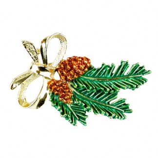 Weihnachtsbrosche Tannenzweig aus Amerika, um 1940-50