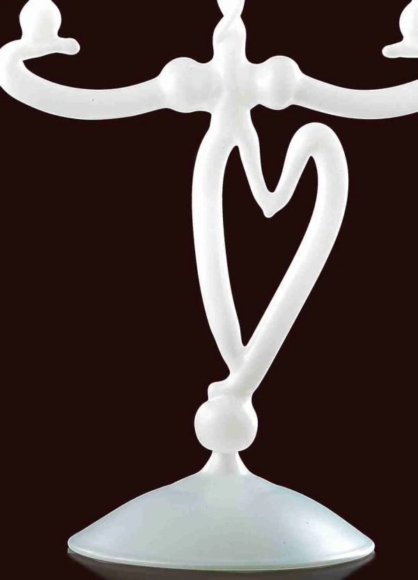 Candlestick with heart, two flames, in Murano glass. The color of the candlestick is in white made entirely by hand.