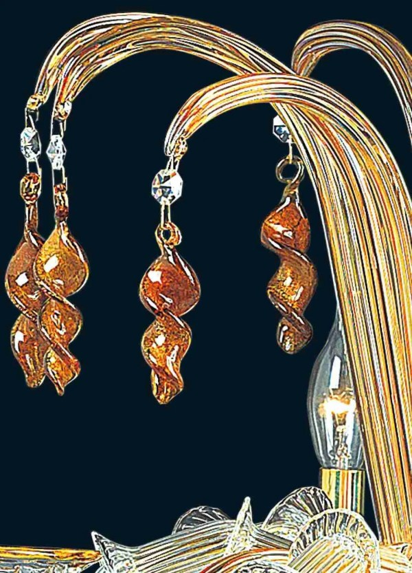 """Rezzonico crystal chandelier with amber details handmade by Murano glass masters, according to Venetian traditions. Murano glass chandelier in """"Rezzonico"""" style, one of the Venetian classics is the perfect combination of art and elegance."""