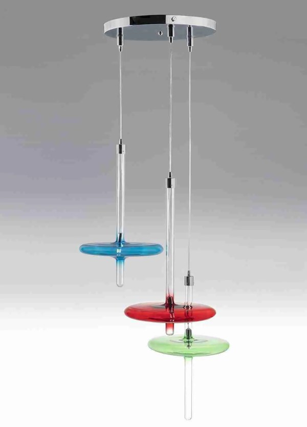 Pulse Modern Hanging Suspension Lamps made of blown glass according to ancient Venetian traditions. The shape is very modern and decorative. The light is made to fall in correspondence with the colored disc in order to diffuse the light throughout the environment.