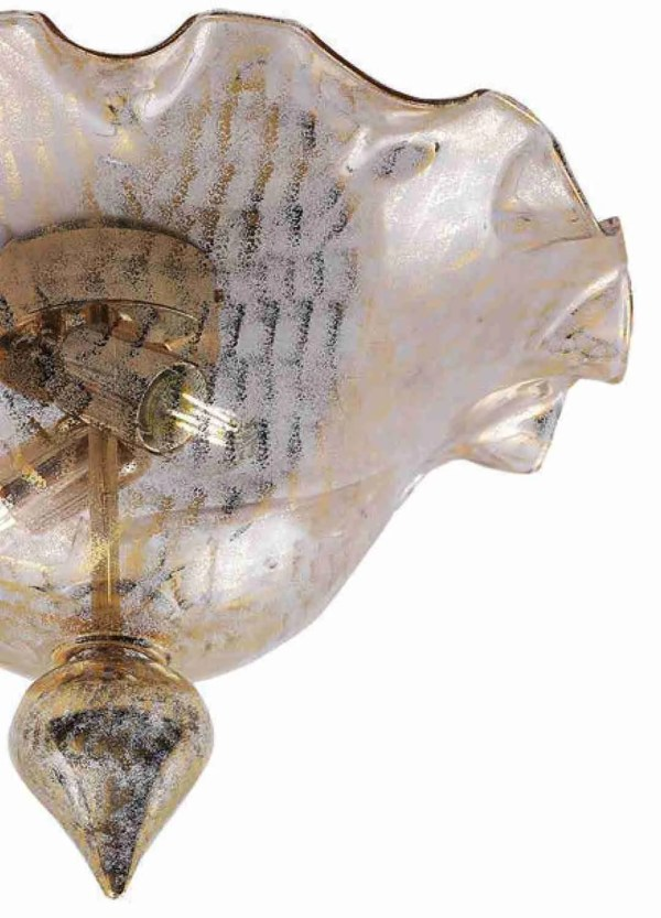 Buffered Gold Ceiling Lamp made of Murano glass; the metal structure is galvanized chrome, from which a series of irregularly shaped corals depart.