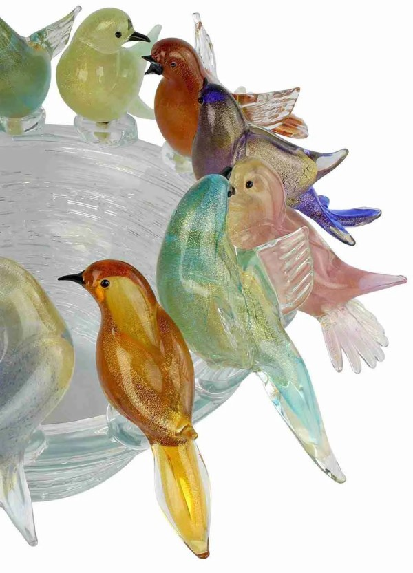 50cm multicolor aviary in Murano glass handmade by our glass masters according to the ancient Murano art.