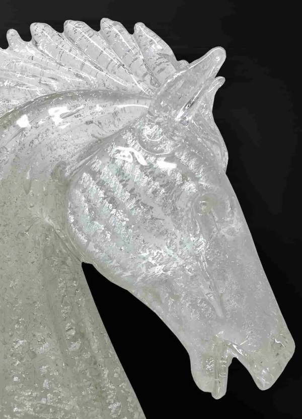Horse Head Sculpture in Murano glass and silver handmade by our glass masters according to the ancient Murano art.