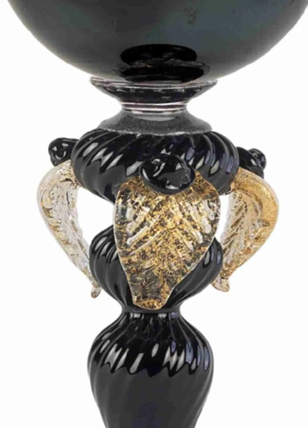 Classic black cup made of blown Murano glass, with 24k gold leaves. Original Murano glass