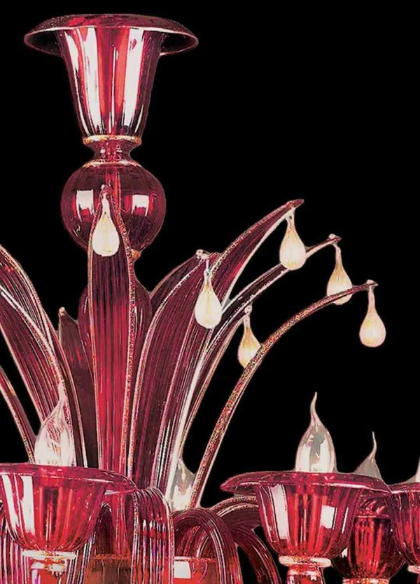 Venetian chandelier handmade, by our glass masters, in red Murano glass with 24K gold decorations. Each chandelier is CE certified.