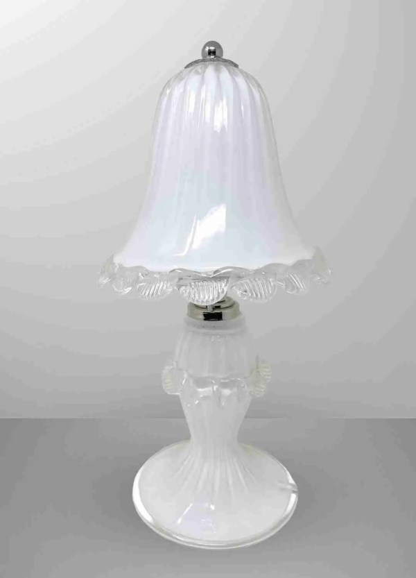 Lamp in original milky white Murano blown glass with transparent crystal glass decorations. Classic Venetian line illuminate your environment with style