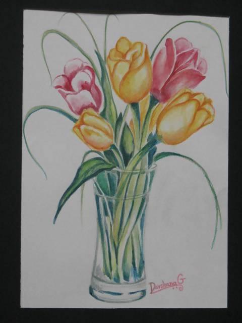 'Tulips' in Watercolor - Art & Buff