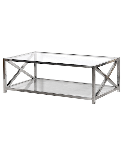 coach house large glass and steel coffee table asco lights
