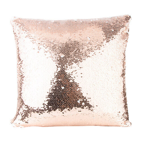 40 x 40 cm pillowcase with two colour of sequins for sublimation printing champagne