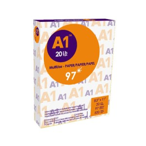 A1® Copy Paper, 20 lbs, 8.5'' x 11'',97 brightness, 500 Sheets/Ream - 1 Pack