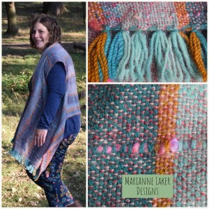 handwoven silk and mohair shawl teal