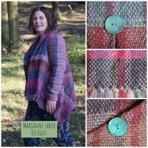 woven jacket in wool pink and blue