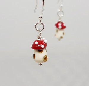 tiny glass toadstool earrings