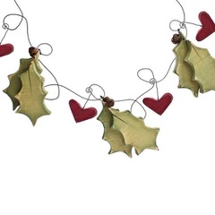 handmade holly christmas bunting