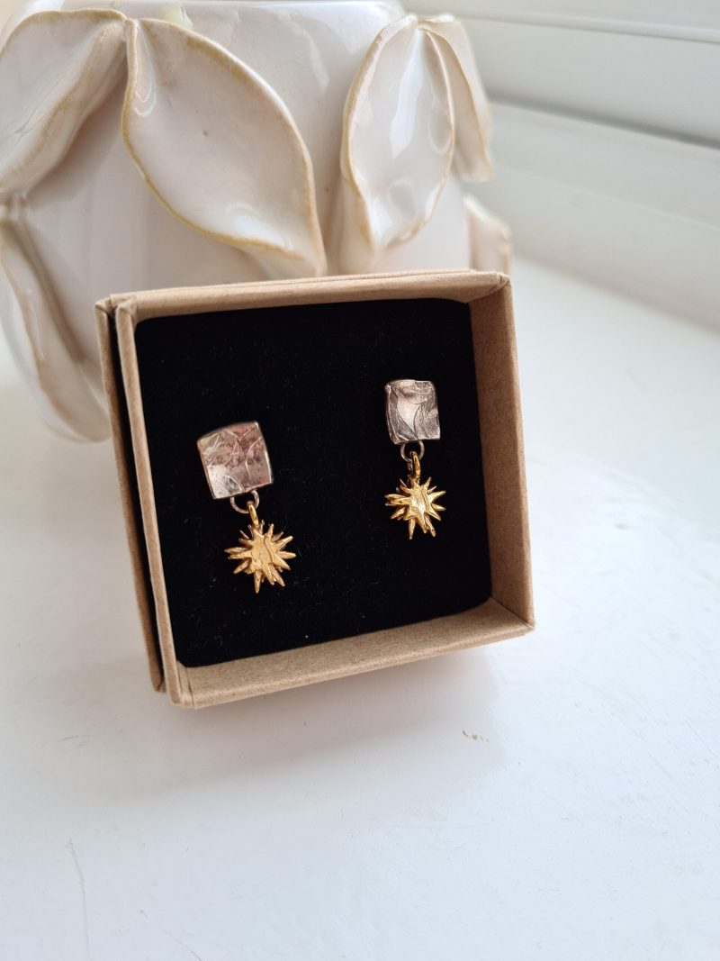 9ct Yellow Gold Star Drops and Sterling Silver Earrings