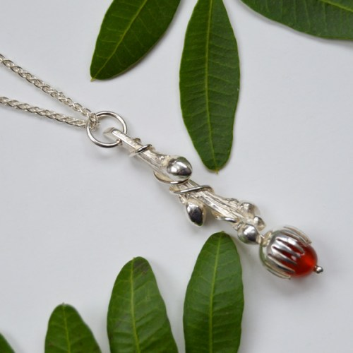 'Entwined' hallmarked Sterling Silver 'Entwined' pendant drop with carnelian gemstone acorn
