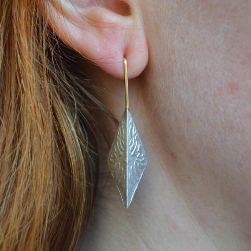 Folded Embossed Drop Earrings