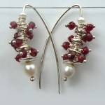 Garnet Pebble Stack Drop Earrings