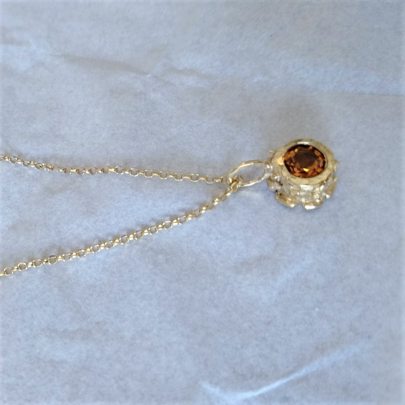 Sterling Silver, Gold Plated Citrine Classics Pendant Necklace