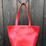 Handmade Red Leather Tote Bag