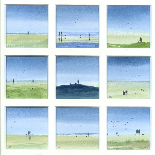 out with the dogs original watercolour by Katie Millard in the Snapshot of Norfolk collection