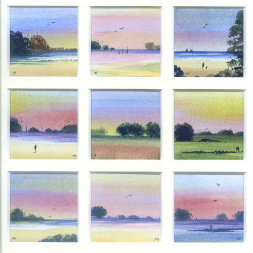 Norfolk Sunset, watercolour from the Snapshots of Norfolk collection by Katie Millard