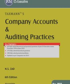 CS Executive Company Accounts and Auditing Practices Book by NS Zad for Dec 2018 Exam