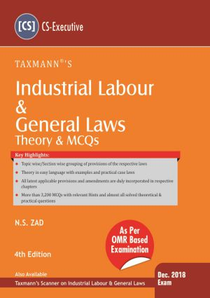CS Executive Industrial, Labour and General Law Book by NS Zad for Dec 2018 Exam