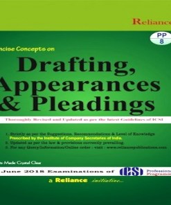 CS Professional Drafting, Appearances and Pleadings Book by S.K Aggarwal, Abha Aggarwal for June 2018 Exam