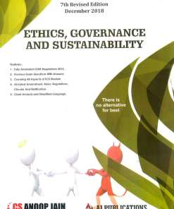 CS Professional Ethics, Governance and Sustainability Book by Anoop Jain for Dec 2018 Exam