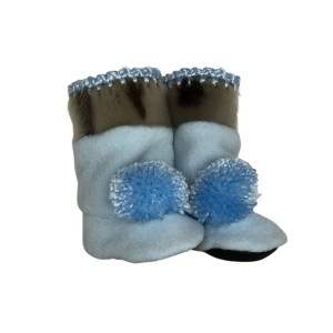 MonaSeams Sealskin_fleece pompom baby booties