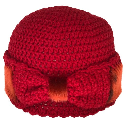 1_MonaSeams_Red Crochet and SealSkin Hat_Front