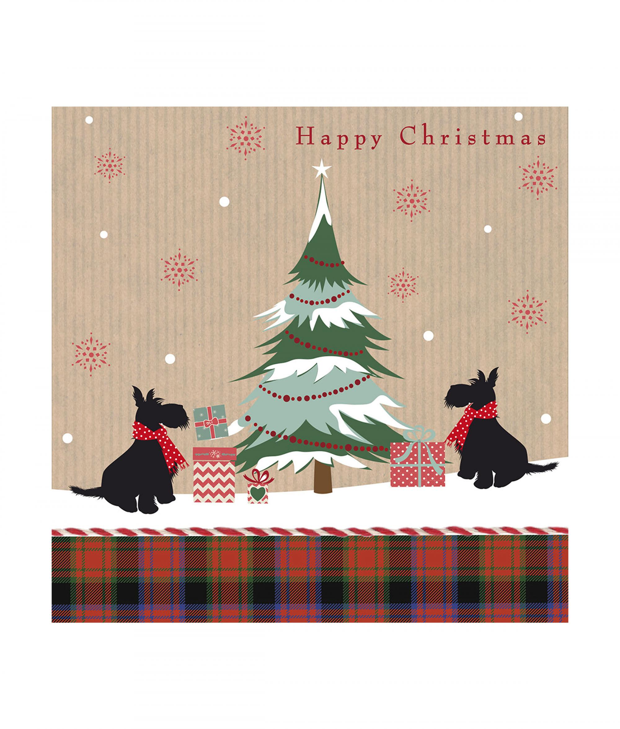 Scotties With Tartan Christmas Cards Pack Of 10 Cancer
