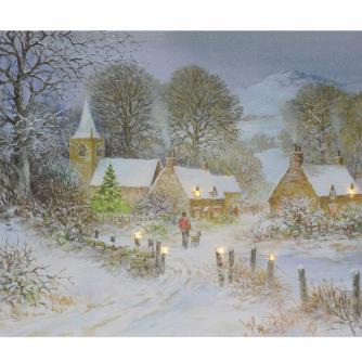 Village At Christmas Card Pack Of 10 Cancer Research
