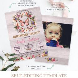 butterfly birthday invitation gender neutral woodland birthday invitation bohemian birthday invite c8