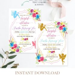 fairy birthday invitation template digital printable c7