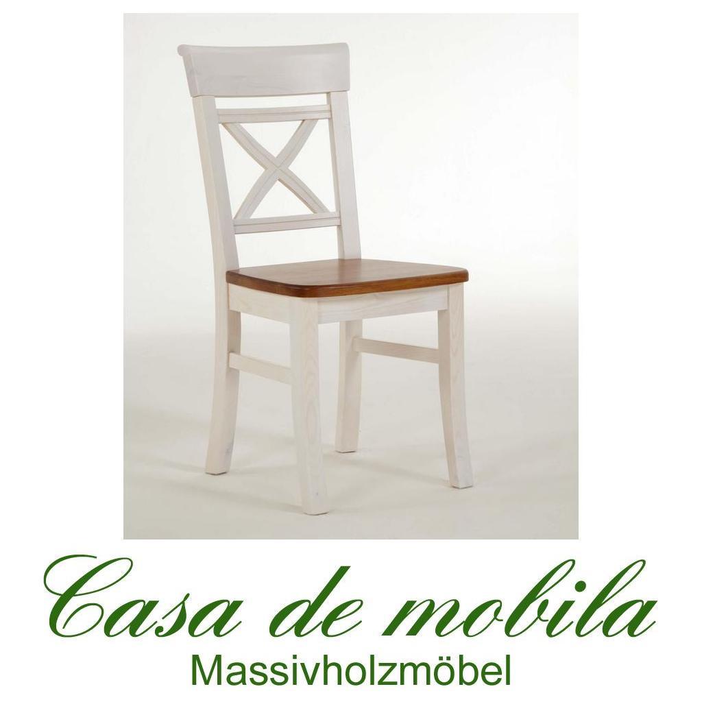 stuhl stuhle landhausstil weiss bernsteinfarben fjord holz kiefer massiv 2 farbig lackiert