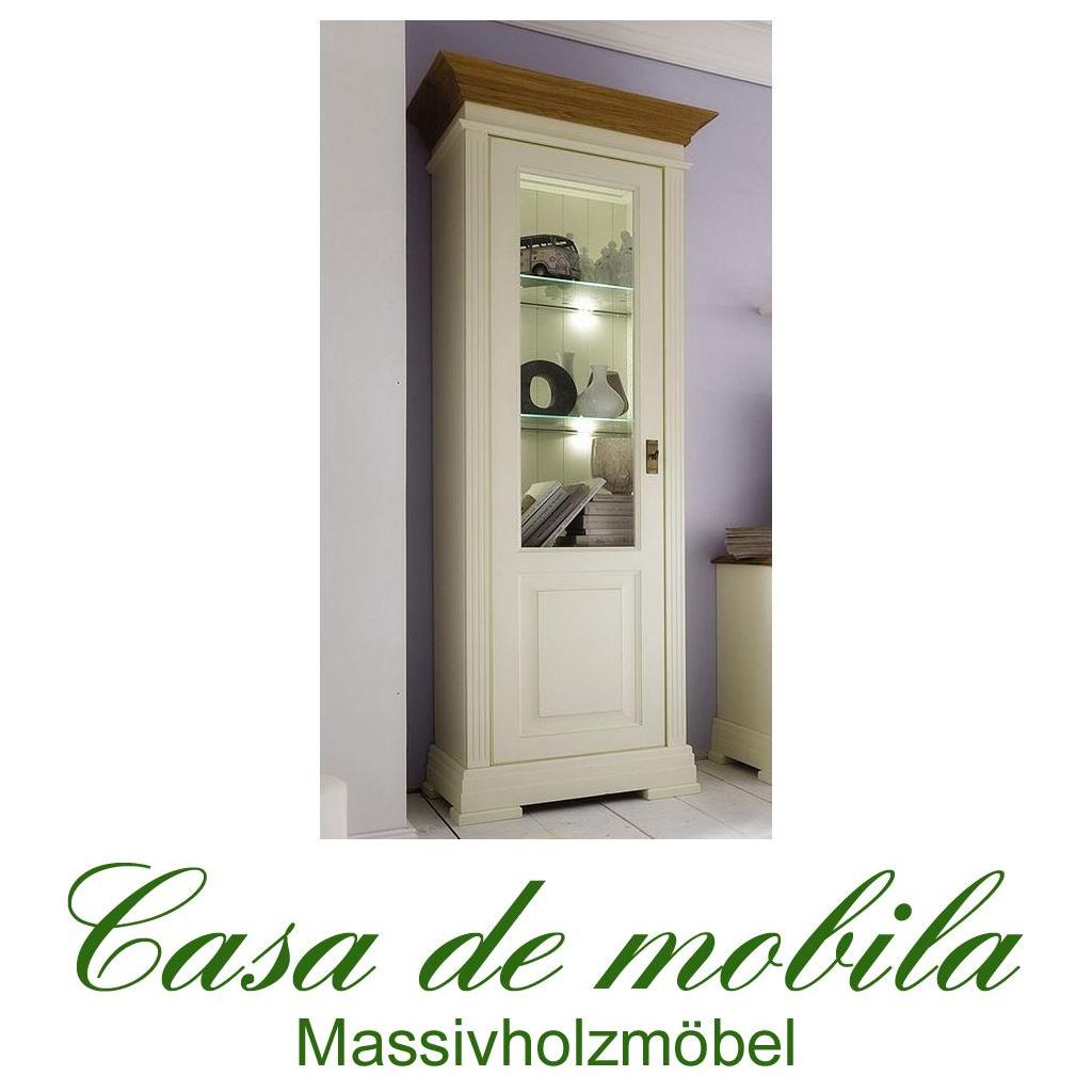 massivholz vitrine links holz kiefer massiv champagner lackiert wildeiche geolt nordic home gross