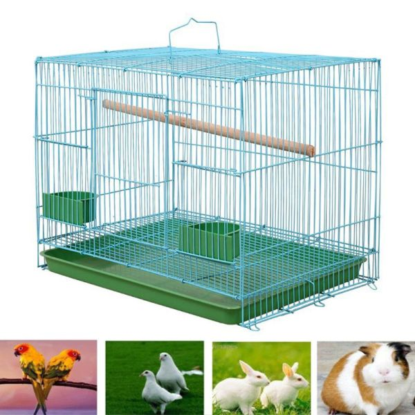 Metal Rectangular Small Cage for Birds and Canaries Rekord + Stick Feeders Tray